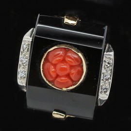 Antique Vintage Art Deco Ring Diamonds Onyx Coral 14k Gold C1925-1935 (ID:5580)