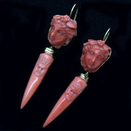 Antique Archaeological Revival Earrings Coral Gold Neo Classic Etruscan (6280)