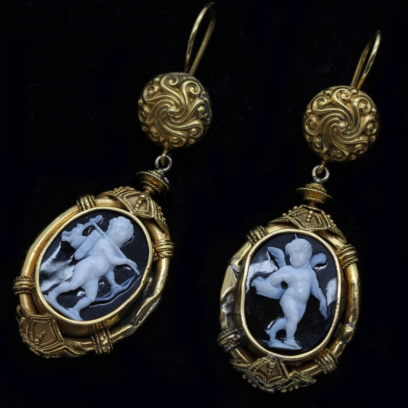 Antique Archaeological Revival Earrings Gold Carved Cameos
