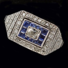 Antique Art Deco Ring Diamonds Natural Sapphires In Platinum Geometric (ID:5684)