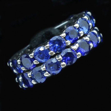 Pair Eternity Rings Antique Sapphires reset in Gold Wedding Rings 11.56ct (ID:5483)