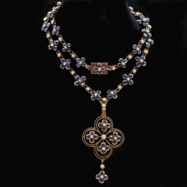 ANTIQUE EDWARDIAN NECKLACE SAPPHIRE PEARLS 15K GOLD (4203)