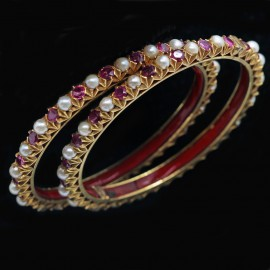 Antique Vintage Pair Bangles Bracelets Gold Old Burmese Rubies Natural Pearls (4910)