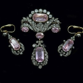 Antique Victorian Brooch Pendant Earrings Diamonds Pink Topaz Gold Silver (6306)