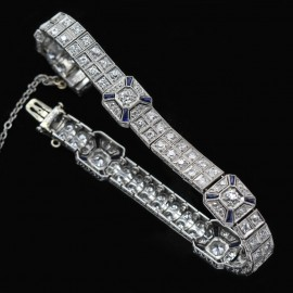 Antique Vintage Art Deco Double Line Bracelet Platinum Diamonds Sapphires (5856)