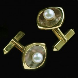 Vintage Estate Cufflinks Mikimoto Japan 14k Gold Pearl Mother of Pearl (ID:5371)