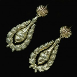 Antique Victorian Earrings 14k Gold Acorn Pendants Day Night (4815)