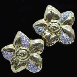 Vintage Modernist Earrings 18k Gold 1.75ct VS Diamonds Flowers Ear Clips (6013)