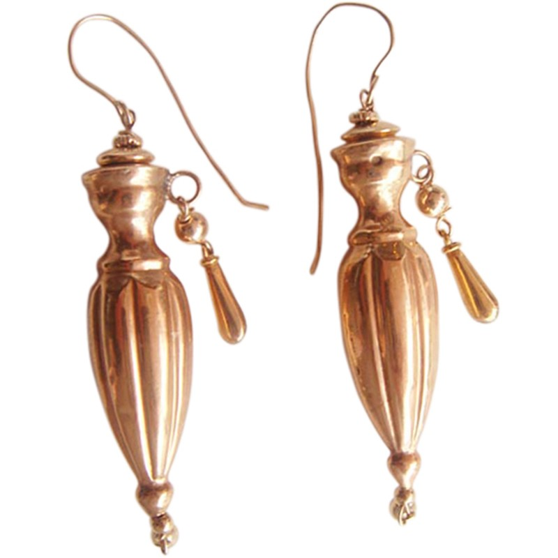Antique Victorian Earrings Long Gold Amphora Urn Drops Possibly Dutch