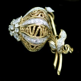 Vintage Tiffany & Co Brooch Gold Platinum Diamonds w French hallmarks (1274)