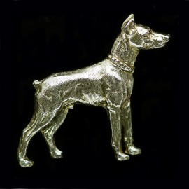 Vintage Doberman Pinscher Dog Brooch Figural Sculpted Gold Pin (ID:5912)