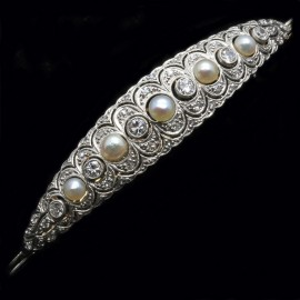 Antique Edwardian Bracelet Platinum Diamonds Pearls and Gold - Very Fine (3546)