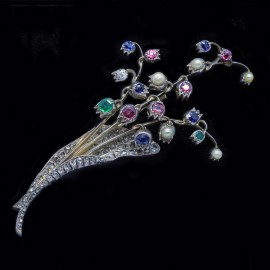 Antique Brooch Pin En Tremblant Diamond Emerald Ruby Sapphire Pearl Gold Silver (4814)