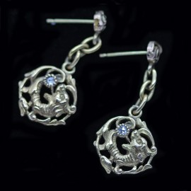 Antique Chinese Dragon Pendant Earrings Gold Diamonds openwork (ID:5417)