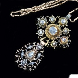 Antique Georgian Necklace Pendant 18k Gold & Silver Diamonds French (4545)