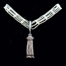 Art Deco Dog Collar Necklace Natural Pearls Diamonds Onyx 18k White Gold (6208)