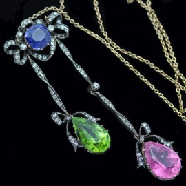 Antique Victorian Belle Epoque Necklace Sapphire Gem Diamonds Gold Boxed (6219)