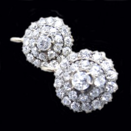 Antique Edwardian Earrings Gold 2.50 ct Diamonds Signed Angelo Martins (ID:5773)