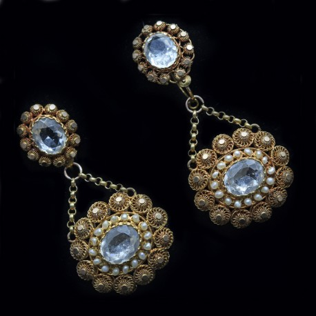 Antique Georgian Earrings Cannetille 15k Gold Pearls Paste Day Night 6286