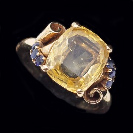 Vintage Retro Ring Signed Raymond Yard - Yellow & Blue Sapphires in Gold (4997)