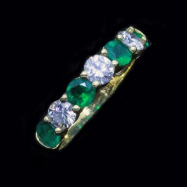 Emerald Diamond Ring Wedding Anniversary Band Estate 18k Gold Ring (ID:5564)