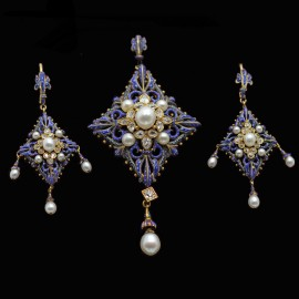 Antique Carlo Giuliano Earrings Pendant Set Diamonds Pearls Enamel Gold (6341)