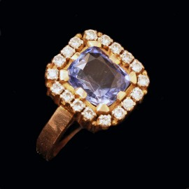 Vintage Ring Sapphire Diamonds Gold Man or Woman Royal Collection India (6439)