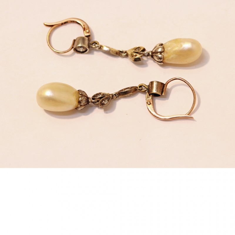 Antique Natural Pearl Earrings Diamonds Silver Gold Gia