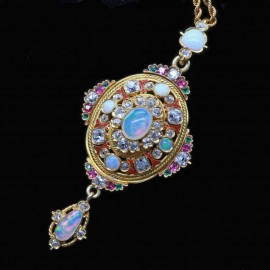 Antique Victorian Pendant 18k Gold Diamonds Opals Gems Holbeinesque (6517)