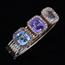 Antique Victorian Bangle 18k Gold Diamonds Aquamarine Citrine Amethyst (6516)