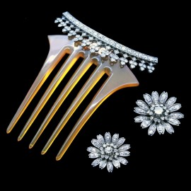 Victorian Hair Combs Brooches Tiara Antique Gold Diamonds Silver Set Paris (6544)