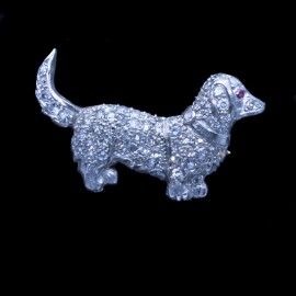 Vintage Art Deco Brooch Dachshund Dog Platinum Gold Diamonds Antique (6546)