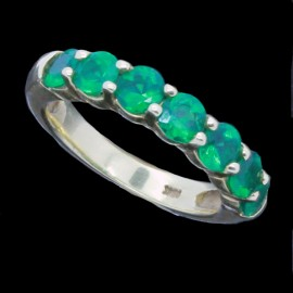 Emerald Ring Wedding Anniversary Band Estate 18k Gold Ring (ID:5563)
