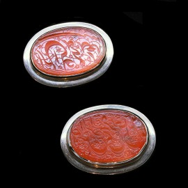 Antique Islamist c1800 Carved Carnelian Cufflinks in Retro Gold Mounts (ID:5294)