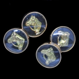 Antique Vintage Retro Gentleman's Cufflinks 18k Gold Horse Heads (ID:5017)