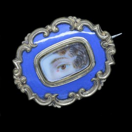 ANTIQUE GEORGIAN MINIATURE EYE PORTRAIT BROOCH ENAMEL (4399)