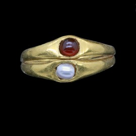 Antique Antiquity Roman Gold Pearl Garnet Ring 2000 Years Old Wedding (ID:5658)