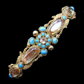 ANTIQUE BRACELET TOPAZ & TURQUOISE IN CANNETILE GOLD (4405)