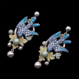 Antique Victorian Earrings Ear Pendants Turquoise Pearls Bird Silver Gold (4290)