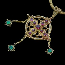 John Brogden Pendant Necklace Ruby Emerald 15ct Gold Renaissance Revival (6557)