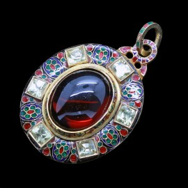 Antique Holbeinesque Locket Pendant 14k Chased Gold Garnet Gem Enamel (6563)