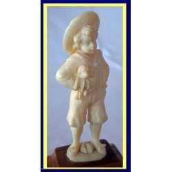Antique European Carved Ivory Figure of Boy With Dog   (4578)