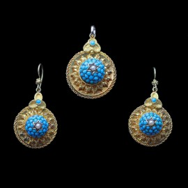 Victorian Earrings Pendant Set Parure 15ct Gold Turquoise Pearls Antique (6619)