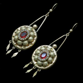 Antique Victorian Earrings 14k Gold Seed Pearls Paste ((ID:5138)