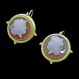 Antique Victorian Earrings Hardstone Cameo 18k Gold Classic Greek Revival (6656)