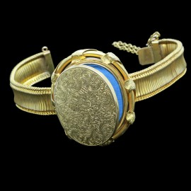 Antique Victorian Locket Bracelet Bangle 18k Gold Engraved Original Box (5034)