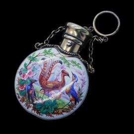 Superb Perfume Scent Bottle Handpainted Enamel Chatelaine  (ID:2922)