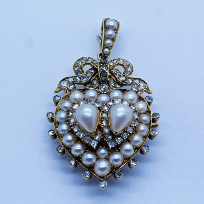 Antique Pendant Brooch 18k Gold Pearls Diamond Heart Bow