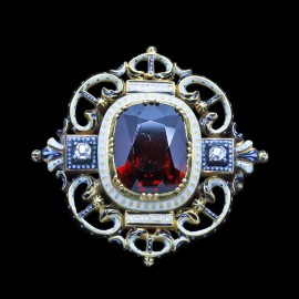 Antique Brooch Giuliano Renaissance Revival Gold Enamel Garnet Diamonds (6671)