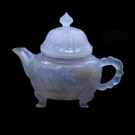 Antique Chinese Carved Agate Teapot - Lotus Flower Form (4667)